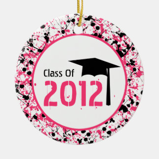 Graduation Class of 2012 Pink & Black Splatter Round Ceramic Decoration