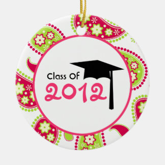 Graduation Class of 2012 Pink & Green Paisley Round Ceramic Decoration