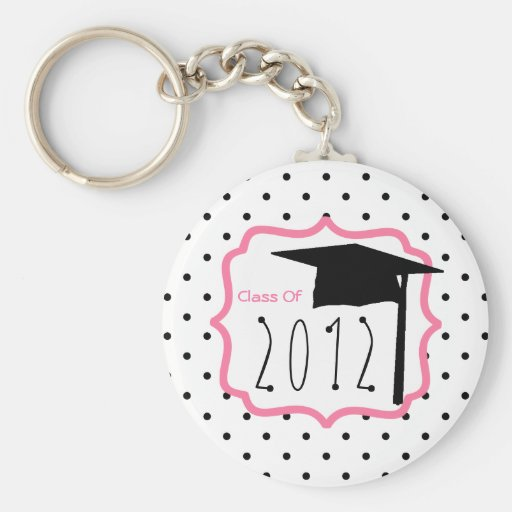 Graduation Class Of 2012 - Polka Dot & Pink Keychains