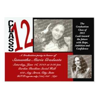 Graduation Class of 2012 Red 13 Cm X 18 Cm Invitation Card