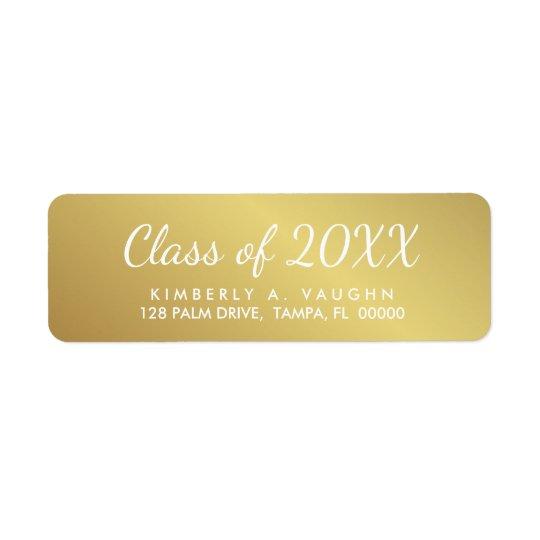 Graduation Class of Gold Foil Look Return Address Return Address Label