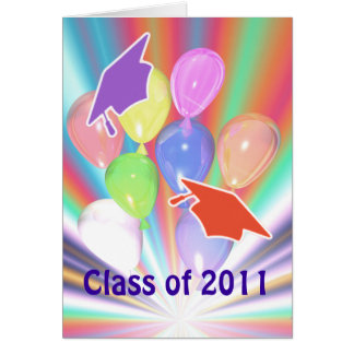 Graduation Congratulations Caps and Balloons Card
