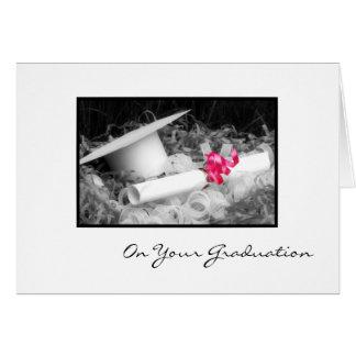 Graduation Congratulations Diploma Pink Ribbon Card