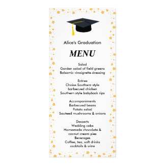 Graduation Dinner Menu,  Stars, Grad Hat Rack Card