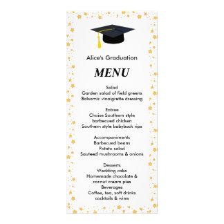 Graduation Dinner Menu,  Stars, Grad Hat Full Color Rack Card