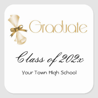 Graduation Diploma Gold Square Sticker