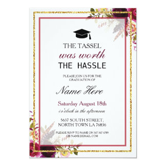 Graduation Floral Berry Rustic Gold Invitation