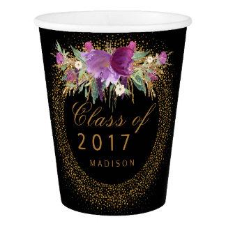 Graduation Floral Faux Gold Sparkle Confetti Black Paper Cup
