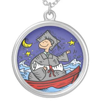 Graduation Follow Your Dreams Round Pendant Necklace