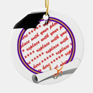 Graduation Frame School Colors  Purple and Gold Round Ceramic Decoration