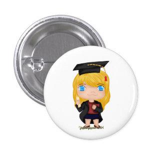 Graduation Girl Blonde (B) 3 Cm Round Badge