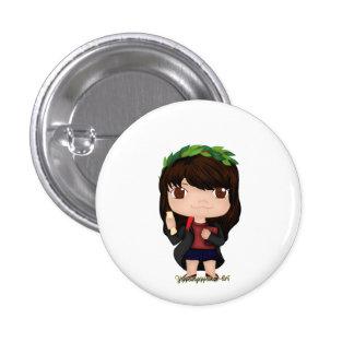 Graduation Girl Brown (A) 3 Cm Round Badge