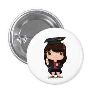 Graduation Girl Brown (B) 3 Cm Round Badge