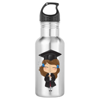 Graduation girl in black 532 ml water bottle