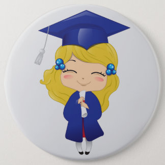 Graduation girl in blue 6 cm round badge