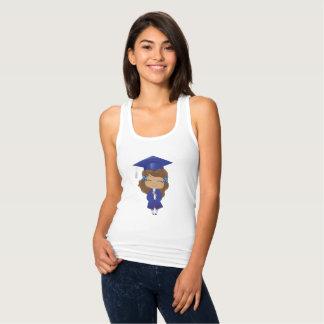 Graduation girl in blue singlet