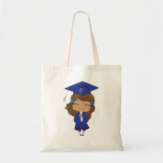 Graduation girl in blue tote bag