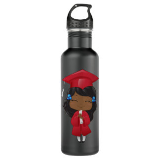 Graduation girl in red 710 ml water bottle