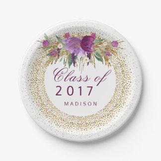 Graduation Glitter Watercolor Flower Gold Confetti 7 Inch Paper Plate