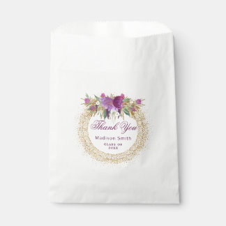 Graduation Glitter Watercolor Flower Gold Confetti Favour Bag