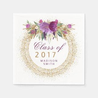 Graduation Glitter Watercolor Flower Gold Confetti Paper Napkin