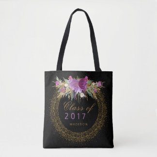 Graduation Glitter Watercolor Flower Gold Confetti Tote Bag