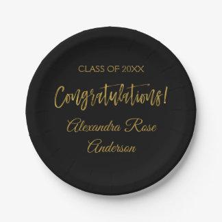 Graduation Gold Foil and Black Congratulations Paper Plate