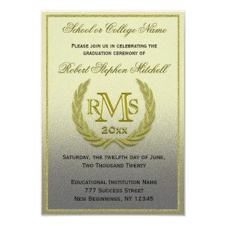 Graduation Gold Laurel Leaf 9 Cm X 13 Cm Invitation Card