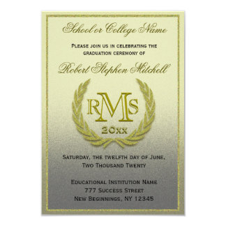 Graduation Gold Laurel Leaf Card