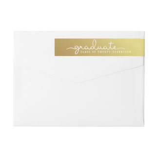 Graduation Gold | White Hand Lettered Script Wrap Wrap Around Label