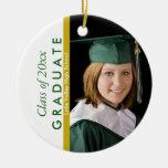 Graduation Green and White Photo Ornament