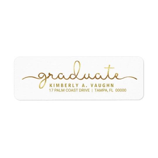 Graduation Handwritten Gold Foil Look Script Return Address Label