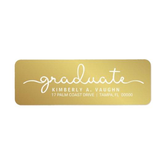 Graduation Handwritten Gold Shimmer Script Return Address Label