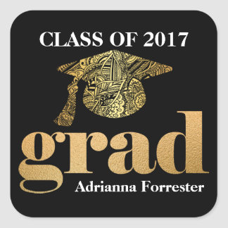 Graduation Hat Faux Gold Foil Grad Typography Square Sticker