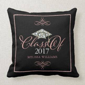 Graduation Hat & Rose Gold Typography Grad Of 2017 Throw Pillow