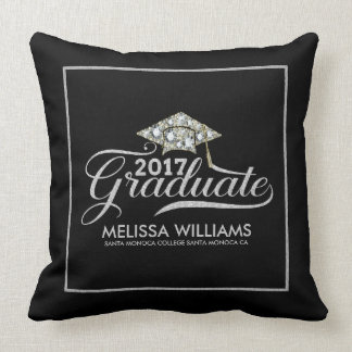 Graduation Hat & Silver Typography Graduate 2017 Throw Pillow