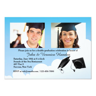 Graduation Hat Toss Photo Invitation