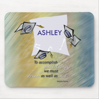 Graduation Hats in Air, Congratulations Graduate Mouse Pad