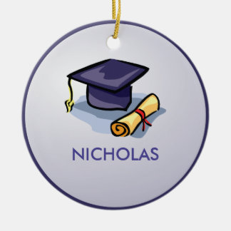 Graduation Hats in Air, Custom Round Gift Ceramic Ornament