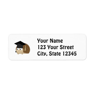 Graduation hedgehog return address label