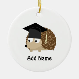 Graduation hedgehog round ceramic decoration