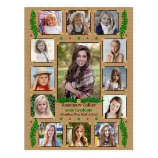 Graduation High School Photo Collage | Burlap Fern Postcard