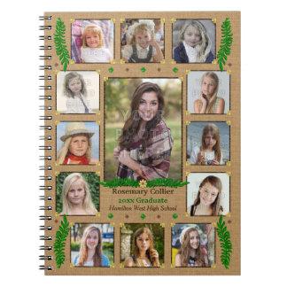Graduation High School Photo Collage | Burlap Fern Spiral Note Book