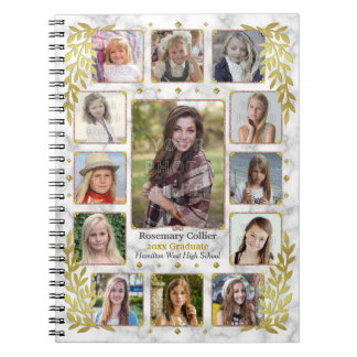 Graduation High School Photo Collage | Gold Marble Spiral Notebook