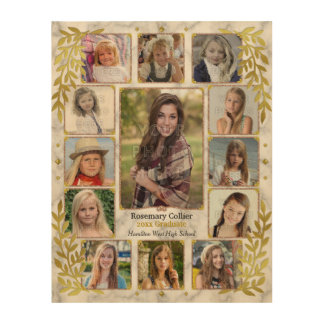 Graduation High School Photo Collage | Gold Marble Wood Canvas