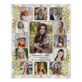 Graduation High School Photo Collage | Marble Gold