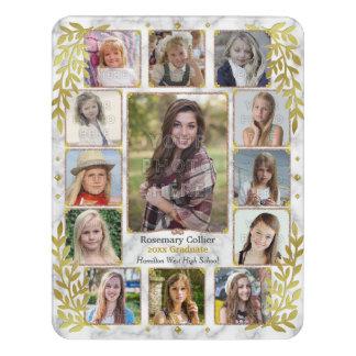 Graduation High School Photo Collage | Marble Gold Door Sign