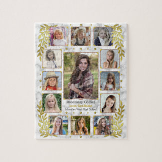 Graduation High School Photo Collage | Marble Gold Jigsaw Puzzle