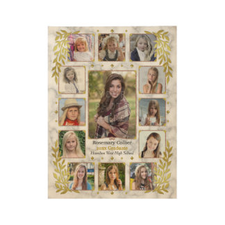 Graduation High School Photo Collage | Marble Gold Wood Poster