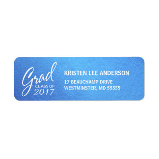 Graduation Ice Blue Faux Foil Elegant Handwriting Return Address Label